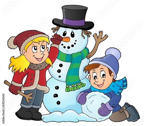 Kids building snowman theme image 1 - 241236363