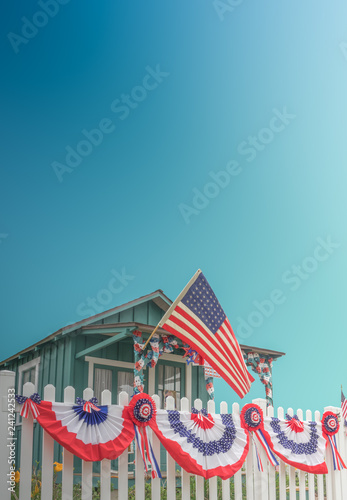 White Picket Fence Patriotic USA Home