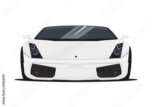 Sports car on a white background. Front view. Flat vector. - 241243113