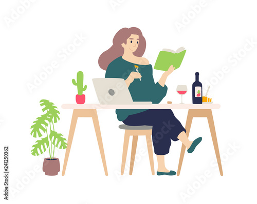 Cute girl resting at the computer at home.  A young lady drinks wine and cheese tasting. Reads a book, engaged in self-education. Illustration for the magazine. Internet banner. - 241250362