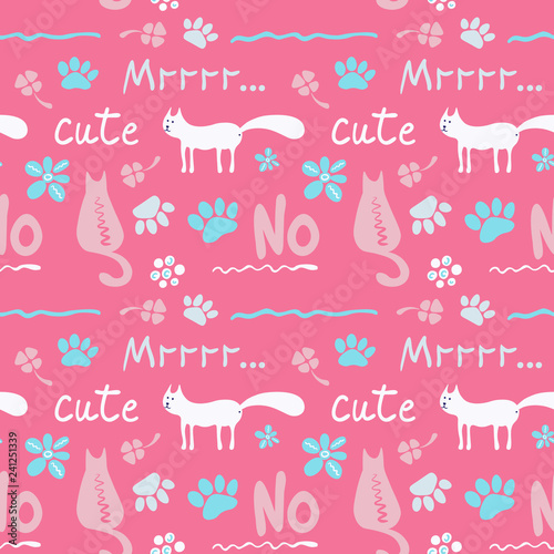 obraz lub plakat Vector seamless pattern with cute cats in soft colors on a pink background, great for polygraphy or textile design.Flat,hand drawn