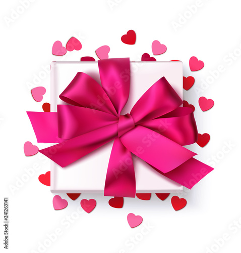 Decorative white gift box with red bow and heart confetti isolated on white. Vector illustration