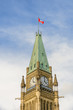 Peace Tower with Canadian flag of Parliament Hill in Ottawa, Canada