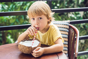 Little boy drinks homemade coconut milk from a half of coconut