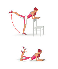 Exercises to strengthen the muscles of the priests and buttocks. © iuliiawhite