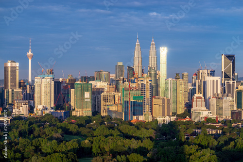Panorama morning view in the middle of Kuala Lumpur city center , Malaysia