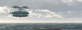 Fantasie Luftschiff über dem Meer - 241280541