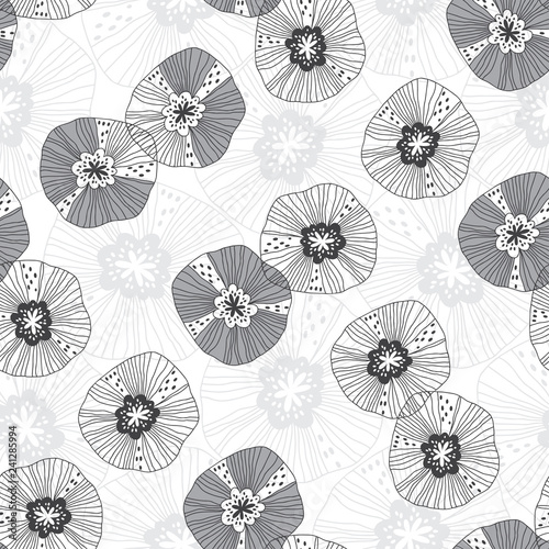 Seamless pattern with flowers on white background. Monochrome vector illustration. Floral background. - 241285994