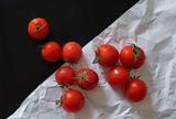 Tomatoes on contrast background
