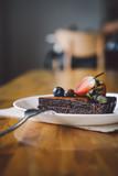 Vegan raw chocolate flourless piece of cake - 241296399