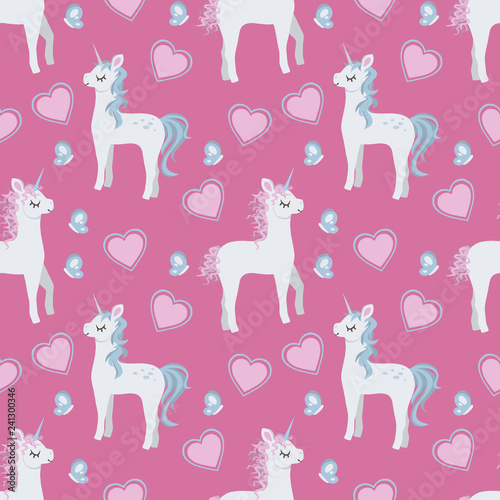 Cartoon style graphic illustration seamless pattern with cute cartoon style unicorns, hearts and butterflies on pink background