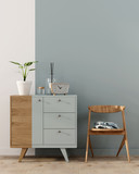 Interior with a blue chest of drawers - 241300770