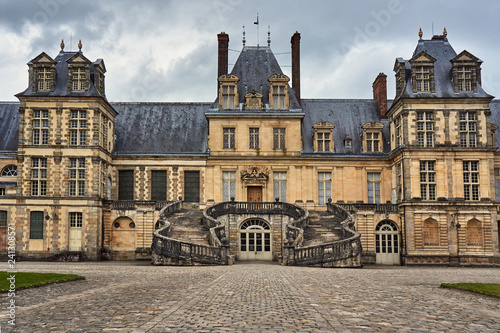fragment of the royal residence in Fontainebleau, France .