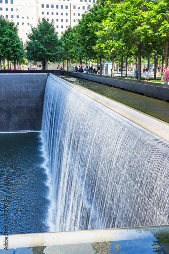 New York / USA - 06-01-2016; Details of the North Pool in the 9-11 Memorial Park in New York, USA