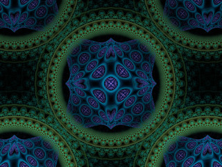 Circular purple blue green fractal