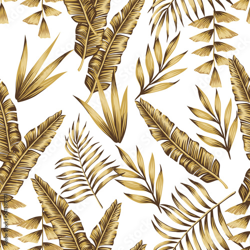 Gold tropical leaves seamless white background - 241309770