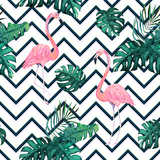 Exotic summer print. Seamless pattern with tropical leaves and flamingo. Hawaii, Miami style.Vector illustration - 241312309