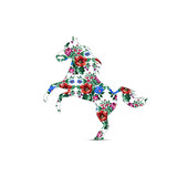 Silhouette of horse with color bouquet of wildflowers (lilia, bellflower, barberry flower and cornflowers) using traditional Ukrainian embroidery elements.