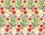 Persian cornflower and  poppy seamless background pattern. Version 3