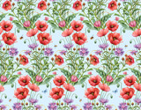 Persian cornflower and  poppy seamless background pattern. Version 4