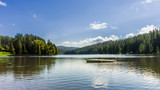Boat on a lake surrounded by trees - 241318148