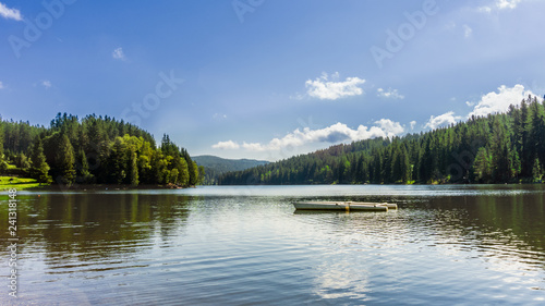 Acrylglas Pier Boat on a lake surrounded by trees