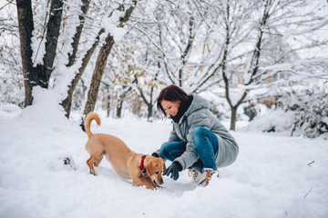 Woman with a dog on a snow © kerkezz