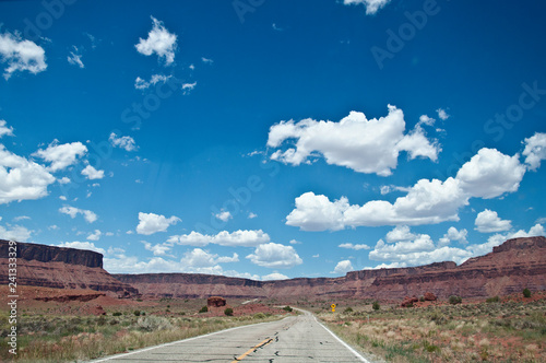 Long straight road in desert, USA