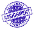 ASSIGNMENT stamp seal watermark with distress texture. Designed with rounded rectangles and circles. Blue vector rubber print of ASSIGNMENT title with unclean texture.