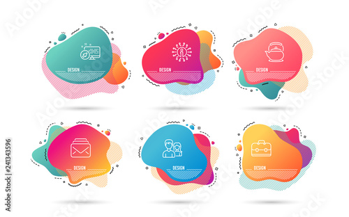 Dynamic liquid shapes. Set of Mail, Teapot and Portfolio icons. Couple sign. New messages, Tea kettle, Business case. Male and female. Gradient banners. Fluid abstract shapes. Vector