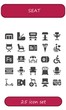 Vector icons pack of 25 filled seat icons