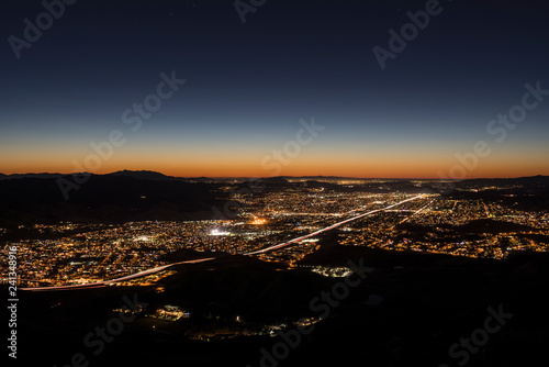 Dusk hilltop view of suburban Simi Valley from Rocky Peak Park near Los Angeles in Ventura County, California.
