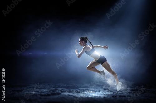 Sportswoman run race. Mixed media - 241352389