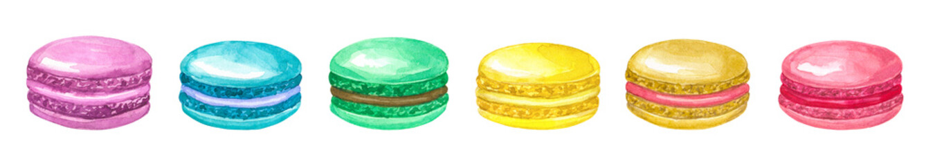 Brighr corolful macaroons. Pink, yellow, blue, green, beige, purple. Hand drawn watercolor illustration. Isolated on white background. © Taity