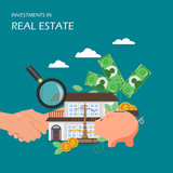 Investments in real estate vector flat illustration - 241361503
