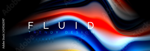 Abstract liquid colorful banner. Trendy wavy dynamic design. Fluid color shapes. - 241363147
