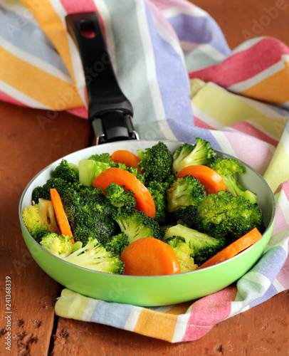 Mixed vegetables with carrots and broccoli tasty garnish - 241368339