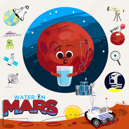 Water or liquid on mars. with Exploration of Mars graphic elemrnts - vector - 241370152