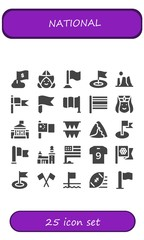 Vector icons pack of 25 filled national icons
