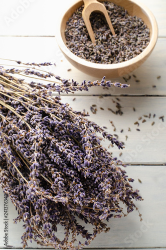Bunch of Dried Lavender Herbs with Bowl of Flower Buds - 241376340
