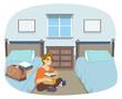 Teen Guy Dorm Room Illustration