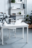 modern office design with white computer desk and rack - 241380531