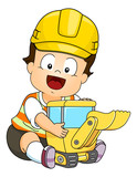 Baby Boy Hard Hat Play Back Hoe Toy Illustration - 241380567