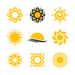 Sun and solar energy vector logo design graphics and icons