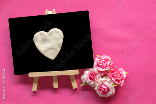 Blackboard with Love Heart on pink background and copy space, Love icon, Happy Valentines Day, relationships concept  - 241399522