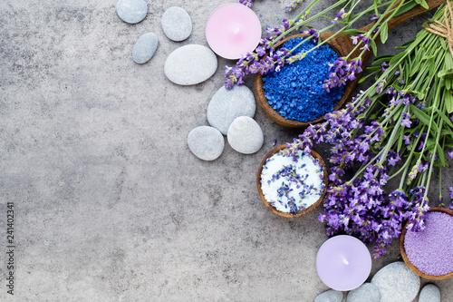 Essential lavender salt with flowers top view. - 241402341