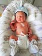 Leinwanddruck Bild - Newborn baby with vital signs sensors