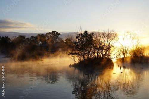 新年の日の出を迎える浮島周辺水辺公園
