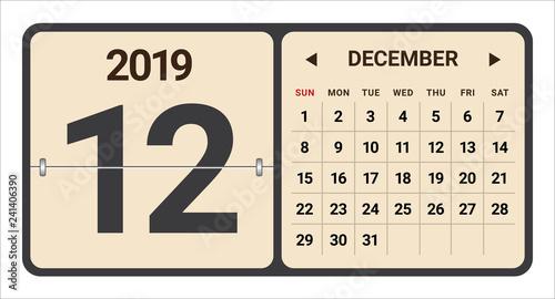 December 2019 monthly calendar vector illustration