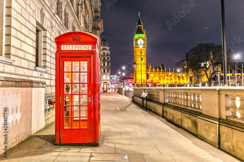 Palace of Westminster in London with the Telephone Booth at Night